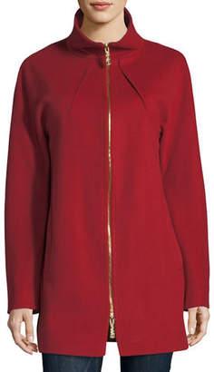 Sofia Cashmere Funnel-Neck Zip-Front Coat