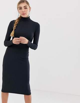 Miss Selfridge high neck bodycon dress in navy