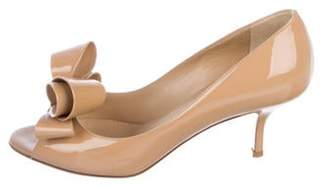 Valentino Patent Leather Bow Pumps Tan Patent Leather Bow Pumps