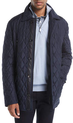 Brioni Quilted Silk Car Coat