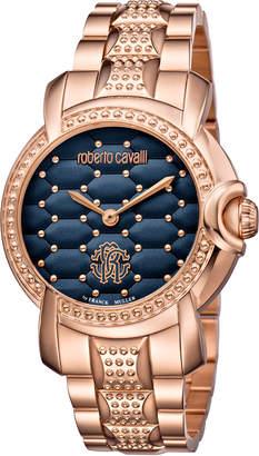 Roberto Cavalli By Franck Muller 36mm Studded Rose Golden Bracelet Watch