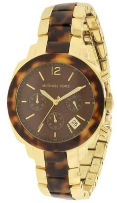 Michael Kors Wolcott Tortoise Acetate Gold-Tone Ladies Watch MK5246