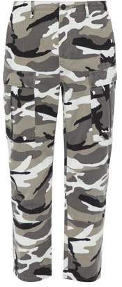Balenciaga Camouflage Print Cotton Twill Trousers - Mens - White
