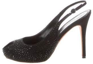Alexander McQueen Embellished Peep-Toe Pumps