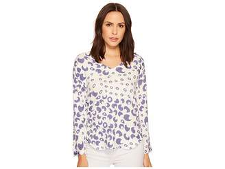 Nally & Millie Bubble Printed V-Neck French Terry Top Women's Clothing