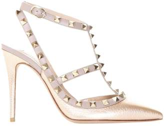 Valentino GARAVANI Pumps Rockstud Pumps Ankle Strap In Real Laminated And Smooth Leather With Micro Metal Studs