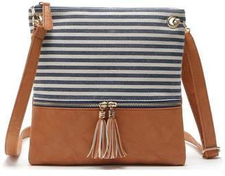 b0180a577d54 at Amazon Canada · Minsahce Adjustable Striped Canvas Leather Crossbody  Shoulder Bag Tassel Double Zipper Messenger Bag Handbag for Women