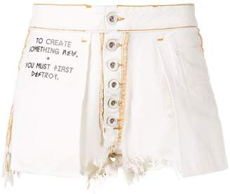 Unravel Project distressed slogan shorts