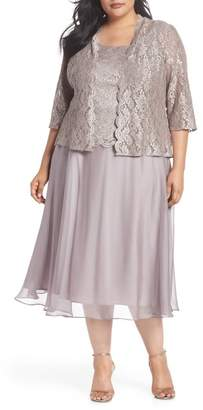 Alex Evenings Lace Bodice Tea Length Dress with Jacket (Plus Size)