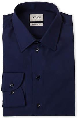 Armani Collezioni Blue Twill Modern Fit Dress Shirt