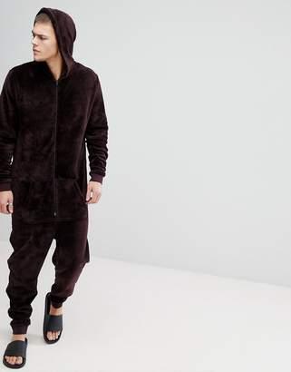 Asos DESIGN hooded onesie in fleece