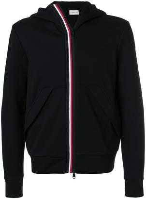 Moncler stripe front zip front hoodie