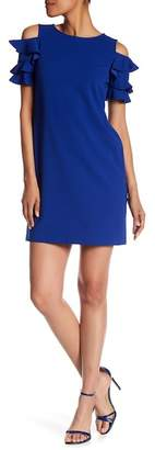 London Times Solid Crepe Scuba Ruffle Cold Shoulder Sleeve Dress