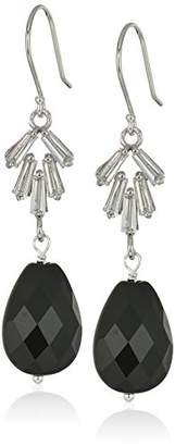 Handmade Faceted Agate and Cubic Zirconia with Sterling Silver Fish Hook Wire Drop Earrings