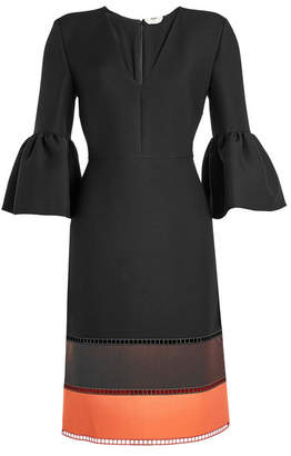 Fendi Wool and Silk Dress with Bell Sleeves