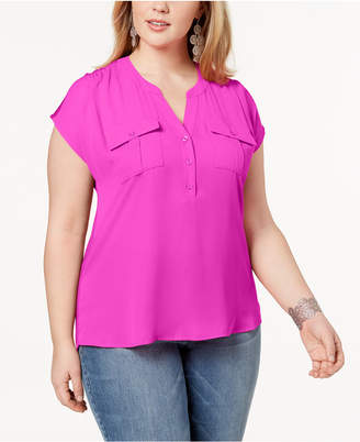 INC International Concepts I.n.c. Plus Size Mixed-Media Utility Shirt