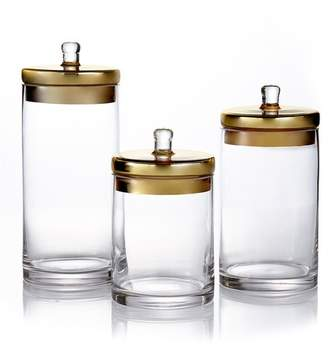 American Atelier Glass Canisters & Golden Lids - Set of 3