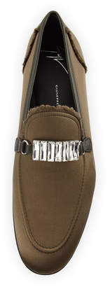 Giuseppe Zanotti Men's Frayed-Silk Rhinestone-Embellished Formal Loafers