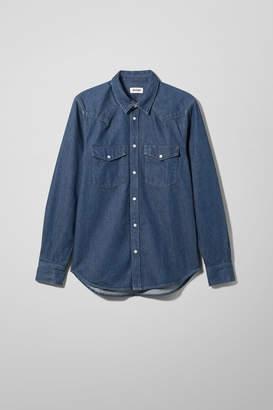 Weekday Lucky Rinse Blue Denim Shirt - Blue