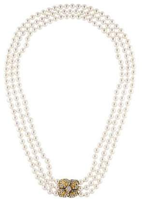 Mikimoto 18K Pearl & Diamond Multistrand Necklace