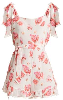 Athena Procopiou - Sundown Breeze Silk Jumpsuit - Womens - White Multi