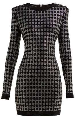 Balmain Crystal Embellished Mini Dress - Womens - Black Multi