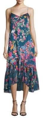 Saloni Printed Silk Hi-Lo Dress