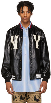 Gucci Black New York Yankees Edition Leather Bomber