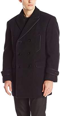 Calvin Klein Men's Medwin Double-Breasted Overcoat Solid