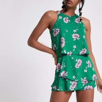 River Island Womens Green floral frill sleeveless romper