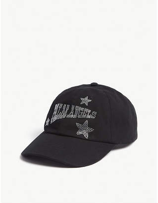 Palm Angels Crystal logo cotton strapback cap