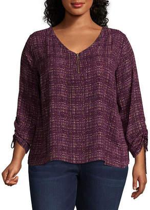 WORTHINGTON Worthington Cinched Sleeve zipper Front Printed Woven Blouse