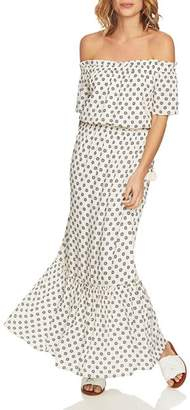 1 STATE 1.STATE Off-the-Shoulder Printed Maxi Dress