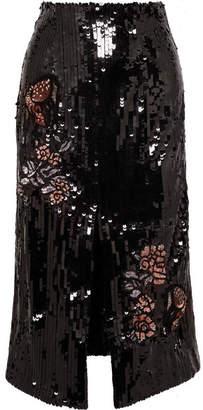 Markus Lupfer Charlie Sequined Tulle Midi Skirt - Black