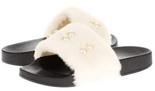 Victoria K Women's Faux Fur w/Pearl Slider Slipper