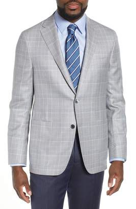 Hickey Freeman Classic B Fit Plaid Wool & Silk Sport Coat