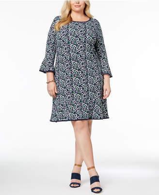Michael Kors Plus Size Printed Flared Dress