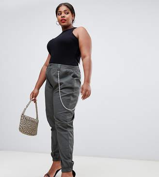 Missguided Plus plus chain detail cargo pants in khaki