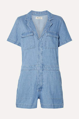 Madewell Cotton And Linen-blend Playsuit - Mid denim