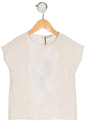 Dolce & Gabbana Girls' Silk Lace-Trimmed Top w/ Tags