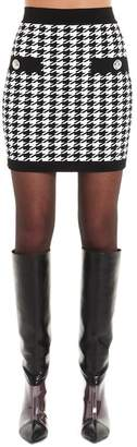 Balmain Houndstooth Print Knitted Pencil Skirt
