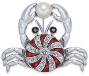 Holiday Lane Silver-Tone Crystal & Imitation Pearl Peppermint Crab Pin, Created For Macy's