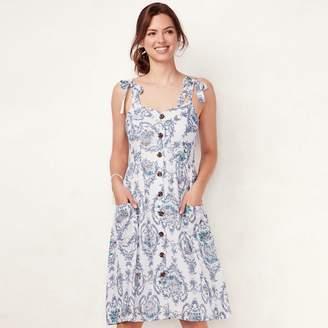 Lauren Conrad Women's Print Button-Front Dress