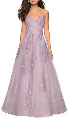 La Femme V-Neck Sleeveless Ball Gown with Floral Lace Applique