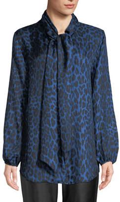 Caroline Rose Petite Leopard-Print Silk Blouse