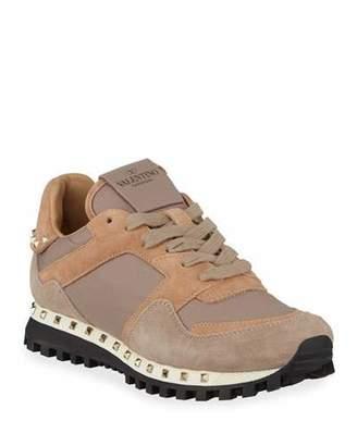Valentino Rockstud Nylon & Suede Sneakers, Poudre