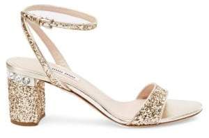 Miu Miu Glitter Ankle-Strap Jewel-Heel Sandals