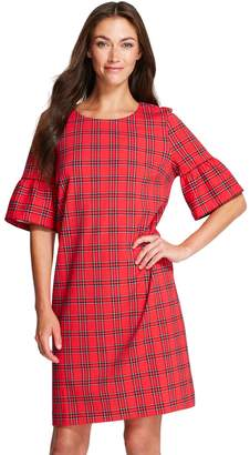 Izod Women's Plaid Bell-Sleeve Shift Dress