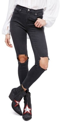 Women's Free People High Rise Busted Knee Skinny Jeans $78 thestylecure.com