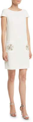 Badgley Mischka Sack Dress w/ Embellished Pockets
